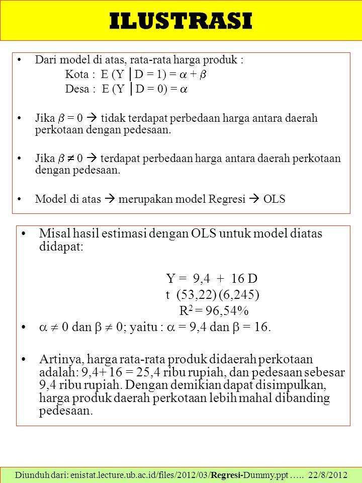 ILUSTRASI Misal hasil estimasi dengan OLS untuk model diatas didapat: