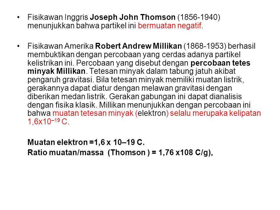 Fisikawan Inggris Joseph John Thomson (1856-1940) menunjukkan bahwa partikel ini bermuatan negatif.