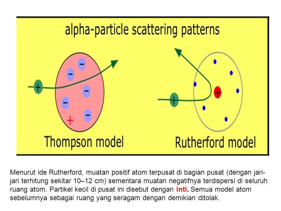 Menurut ide Rutherford, muatan positif atom terpusat di bagian pusat (dengan jari-jari terhitung sekitar 10–12 cm) sementara muatan negatifnya terdispersi di seluruh ruang atom.