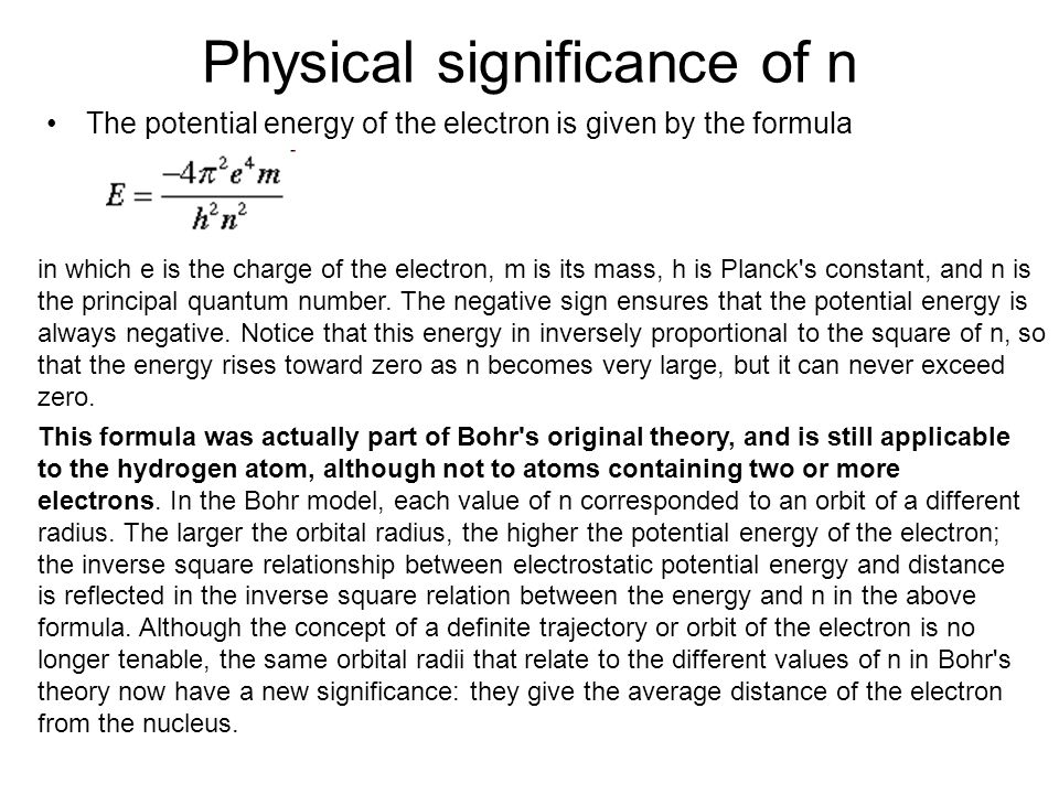 Physical significance of n