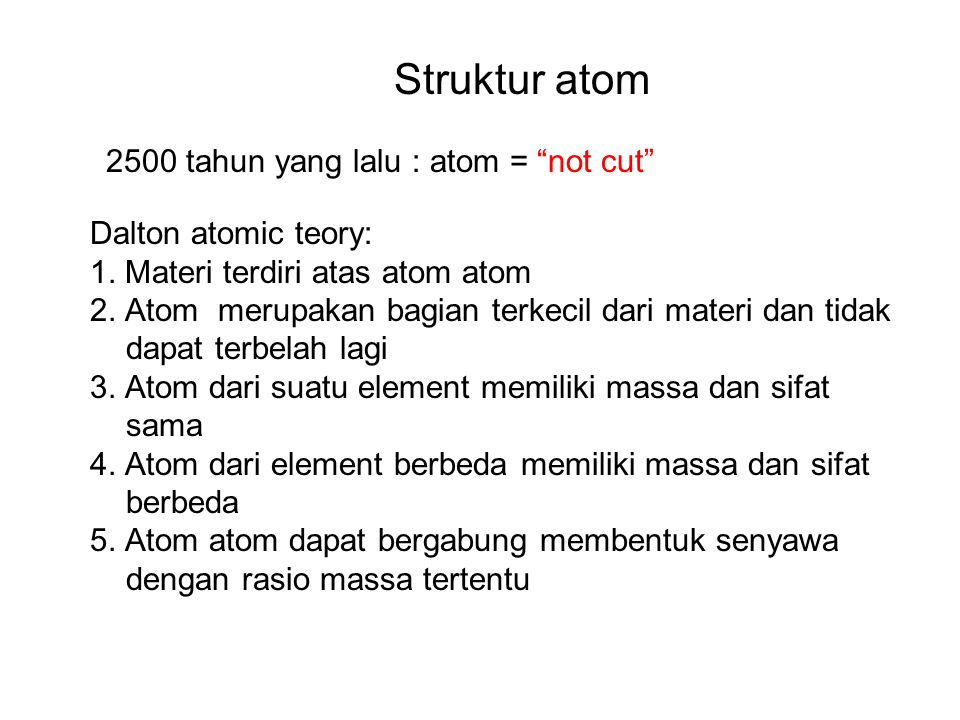 2500 tahun yang lalu : atom = not cut