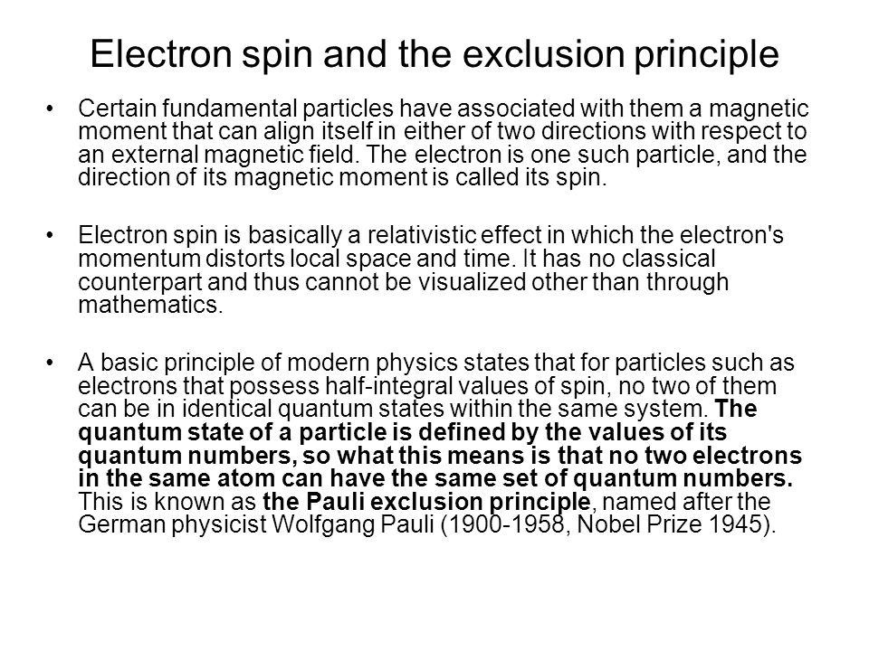 Electron spin and the exclusion principle