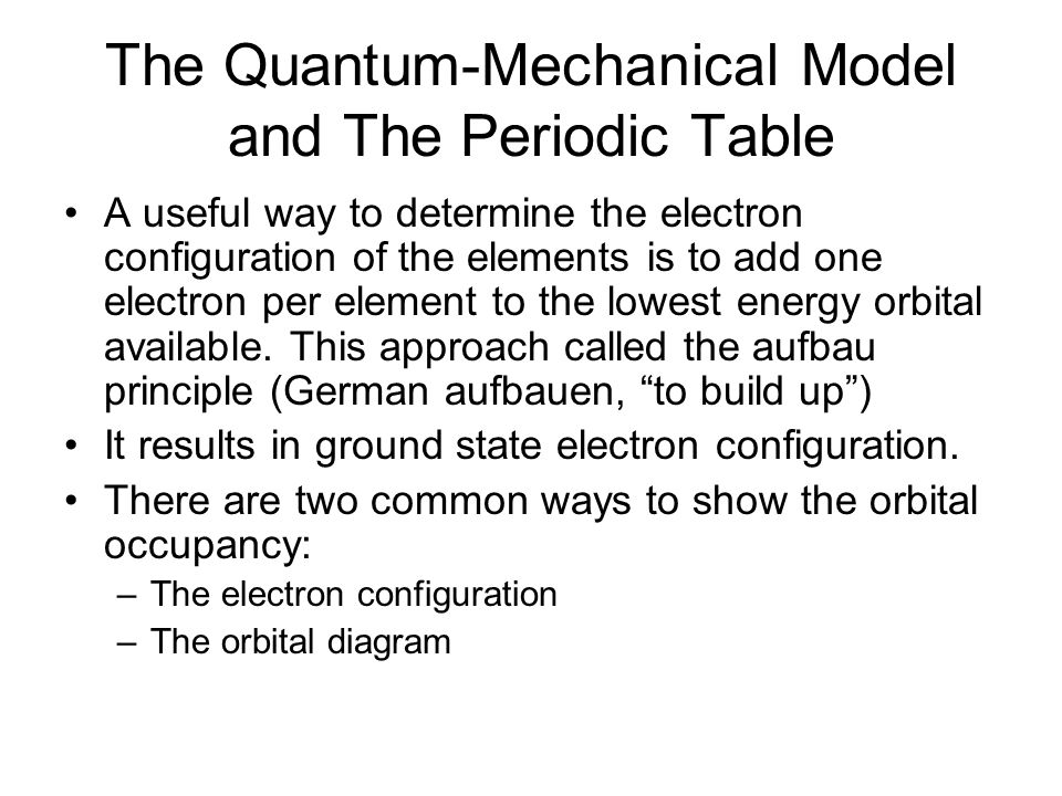 The Quantum-Mechanical Model and The Periodic Table