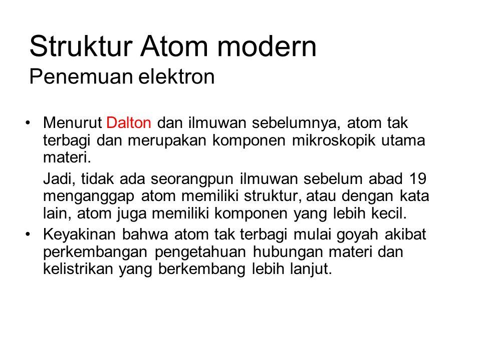 Struktur Atom modern Penemuan elektron