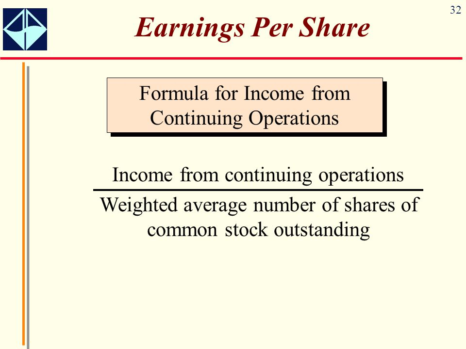 Earnings Per Share Formula for Income from Continuing Operations