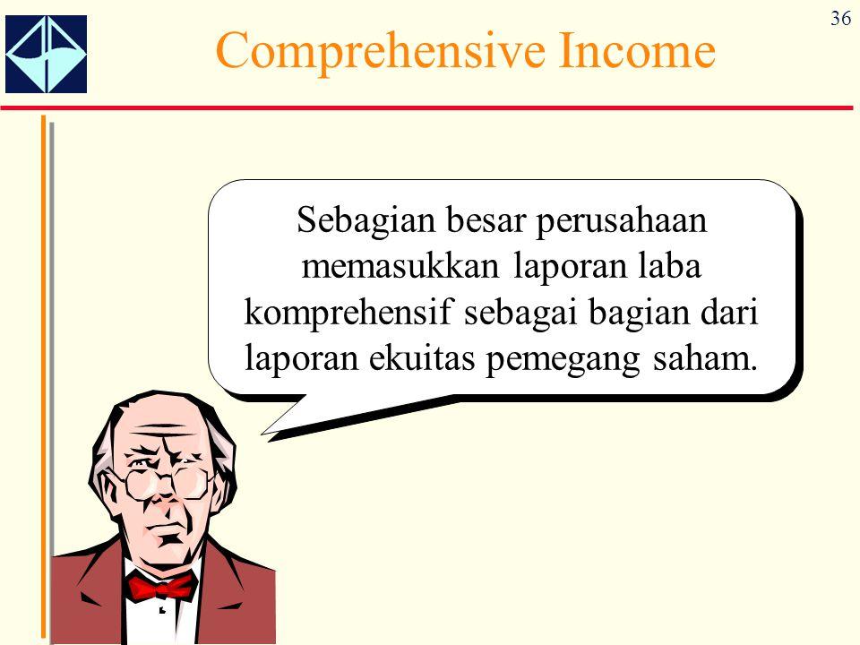 Comprehensive Income Sebagian besar perusahaan memasukkan laporan laba komprehensif sebagai bagian dari laporan ekuitas pemegang saham.