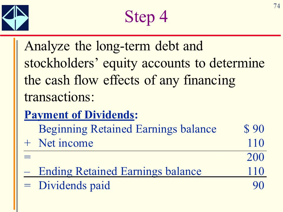 Step 4 Analyze the long-term debt and stockholders' equity accounts to determine the cash flow effects of any financing transactions: