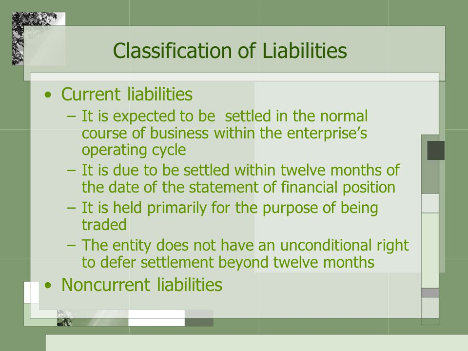 Classification of Liabilities