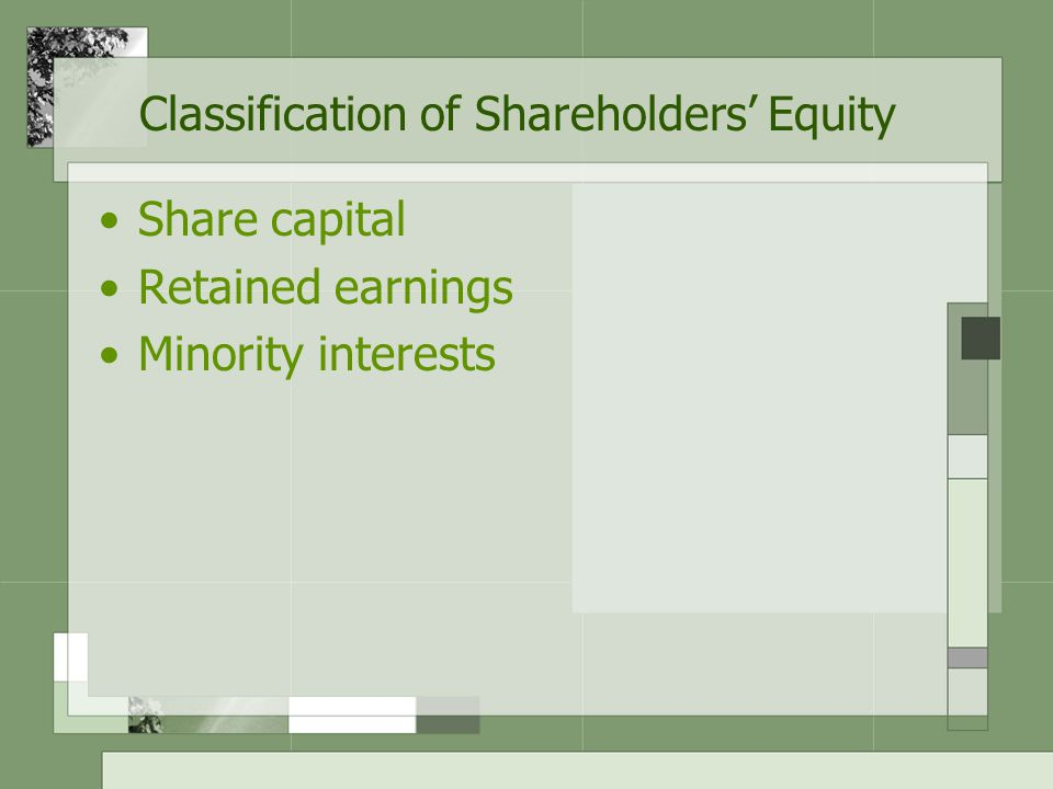 Classification of Shareholders' Equity