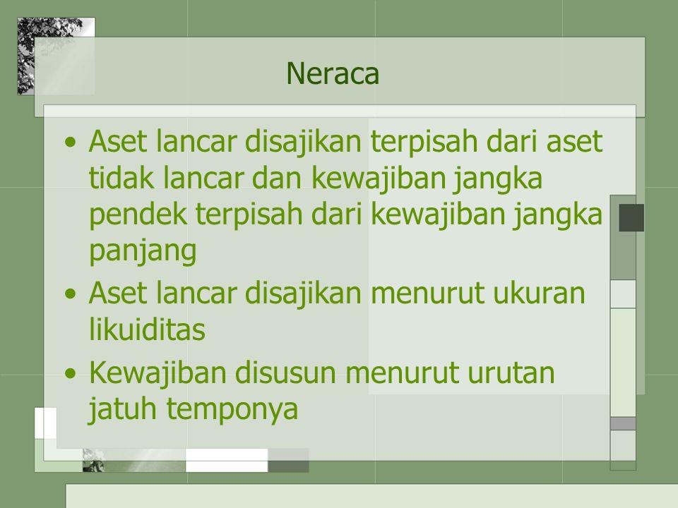 Neraca Aset lancar disajikan terpisah dari aset tidak lancar dan kewajiban jangka pendek terpisah dari kewajiban jangka panjang.