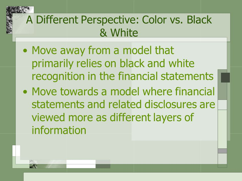 A Different Perspective: Color vs. Black & White