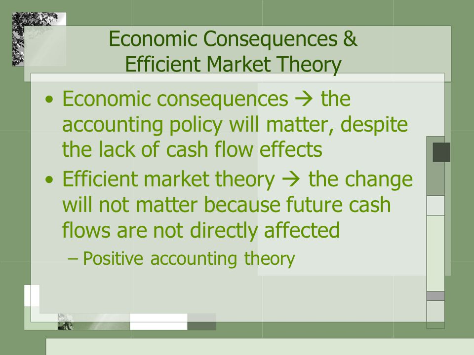 Economic Consequences & Efficient Market Theory
