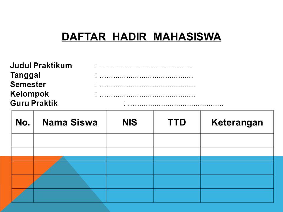 DAFTAR HADIR MAHASISWA