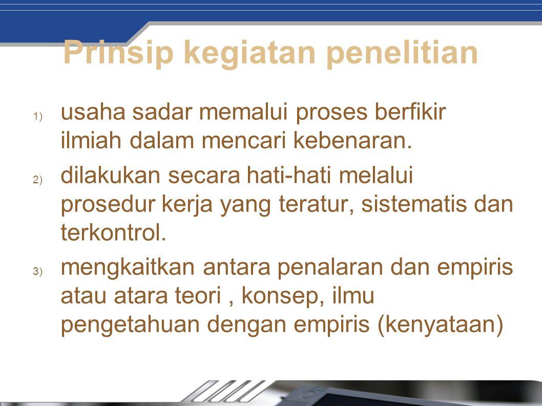 Prinsip kegiatan penelitian
