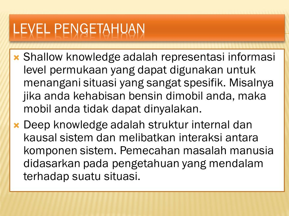 Level pengetahuan