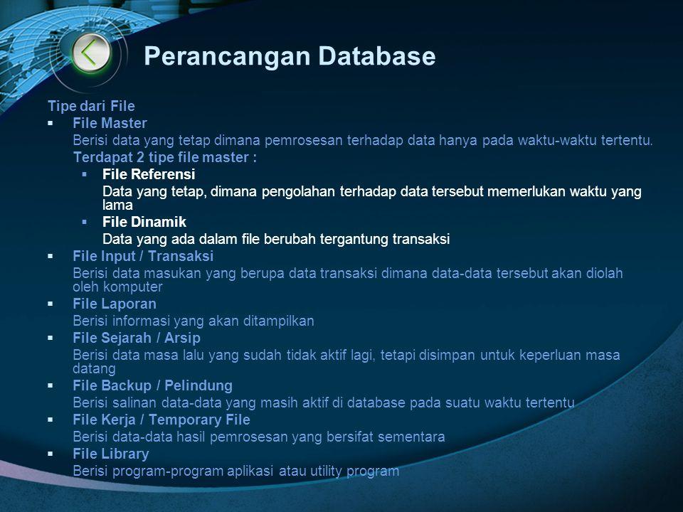 Perancangan Database Tipe dari File File Master