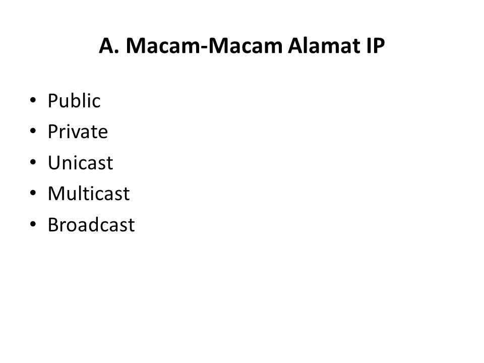 A. Macam-Macam Alamat IP