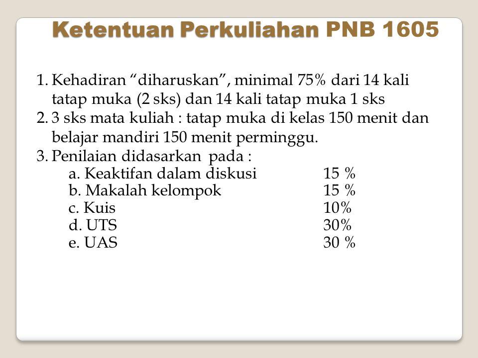 Ketentuan Perkuliahan PNB 1605