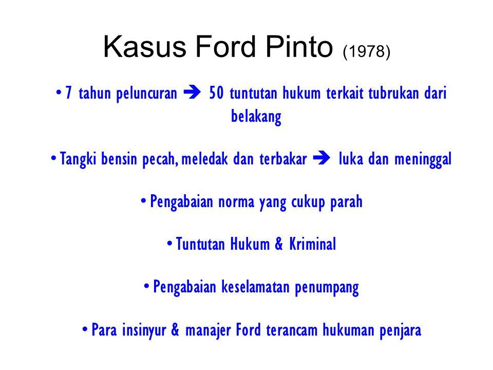 Kasus Ford Pinto (1978) 7 tahun peluncuran  50 tuntutan hukum terkait tubrukan dari belakang.