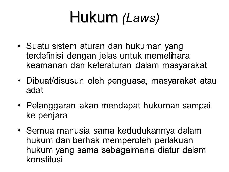 Hukum (Laws) Suatu sistem aturan dan hukuman yang terdefinisi dengan jelas untuk memelihara keamanan dan keteraturan dalam masyarakat.