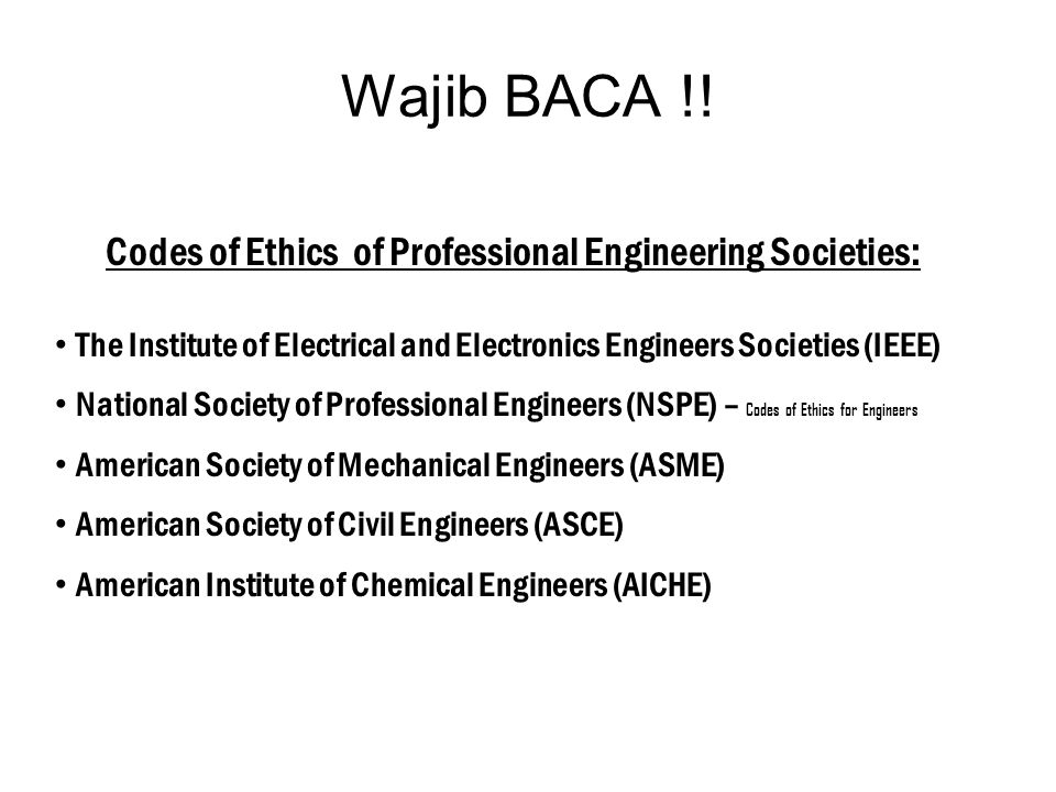 Codes of Ethics of Professional Engineering Societies: