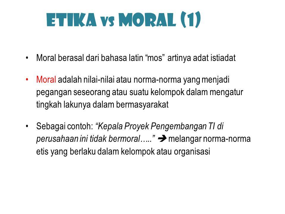 Etika vs Moral (1) Moral berasal dari bahasa latin mos artinya adat istiadat.