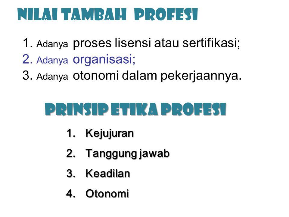 Nilai Tambah Profesi Prinsip Etika Profesi