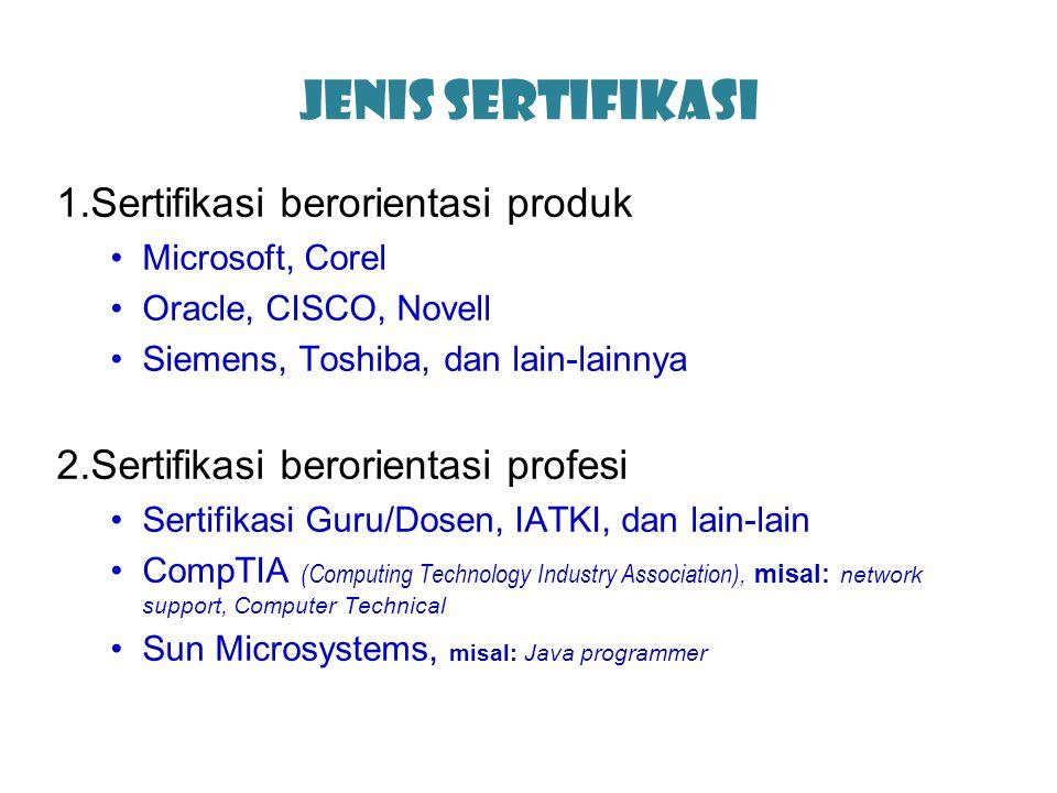 Jenis Sertifikasi Sertifikasi berorientasi produk
