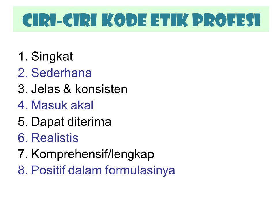 CIRI-CIRI Kode Etik Profesi