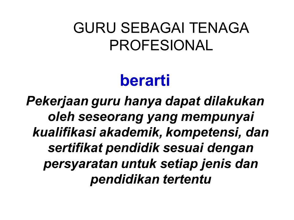 GURU SEBAGAI TENAGA PROFESIONAL
