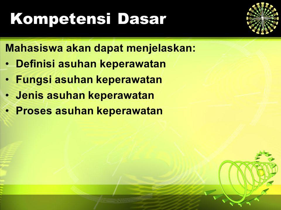 Kompetensi Dasar Mahasiswa akan dapat menjelaskan: