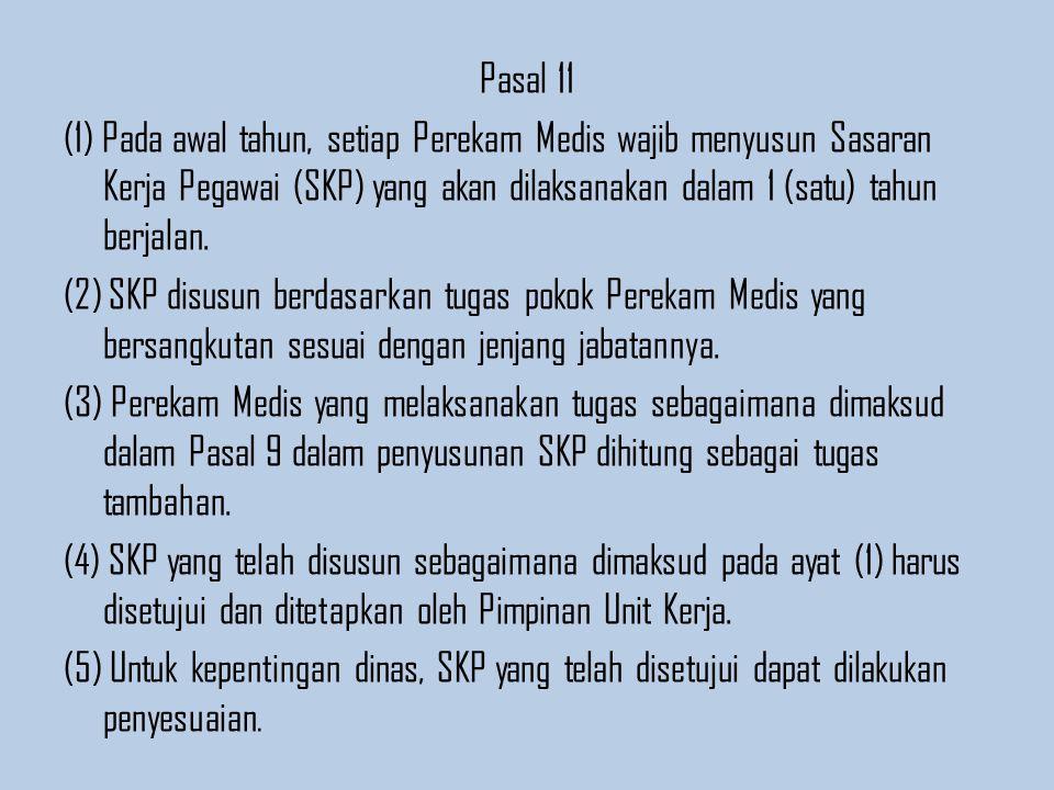 Pasal 11 (1) Pada awal tahun, setiap Perekam Medis wajib menyusun Sasaran Kerja Pegawai (SKP) yang akan dilaksanakan dalam 1 (satu) tahun berjalan.