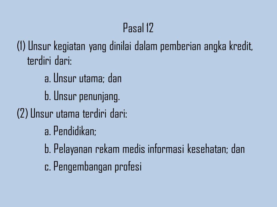 Pasal 12 (1) Unsur kegiatan yang dinilai dalam pemberian angka kredit, terdiri dari: a.