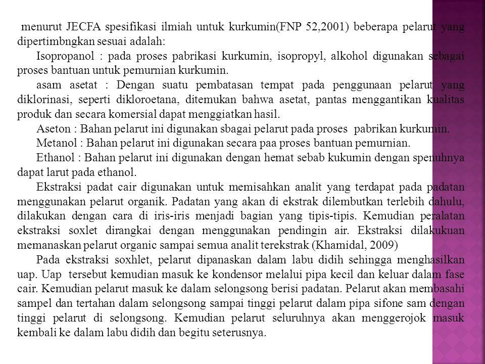 menurut JECFA spesifikasi ilmiah untuk kurkumin(FNP 52,2001) beberapa pelarut yang dipertimbngkan sesuai adalah:
