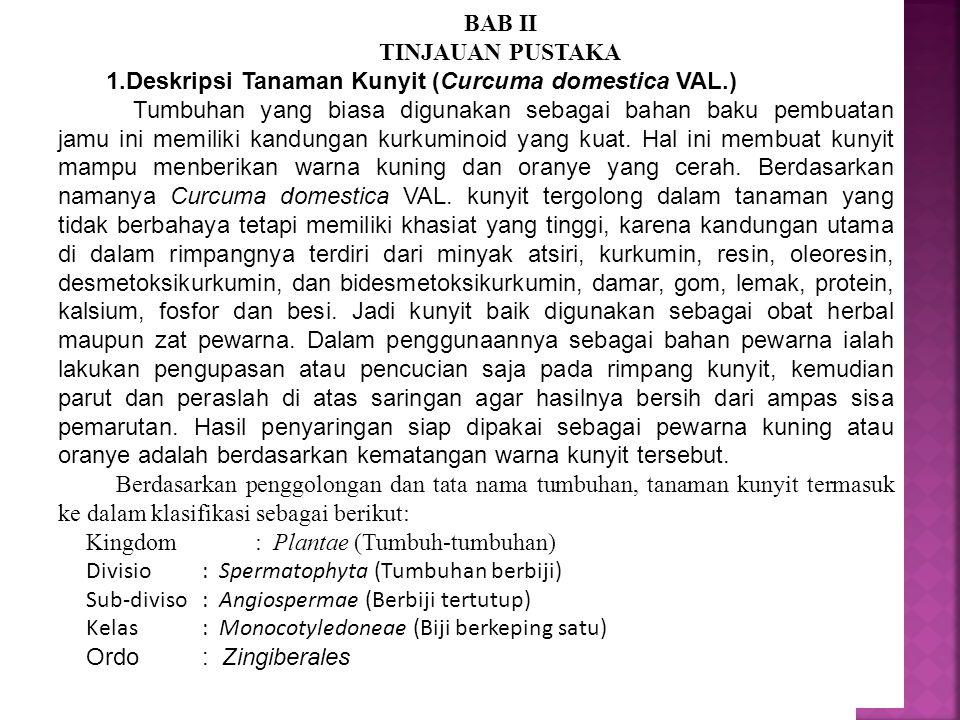 BAB II TINJAUAN PUSTAKA. Deskripsi Tanaman Kunyit (Curcuma domestica VAL.)