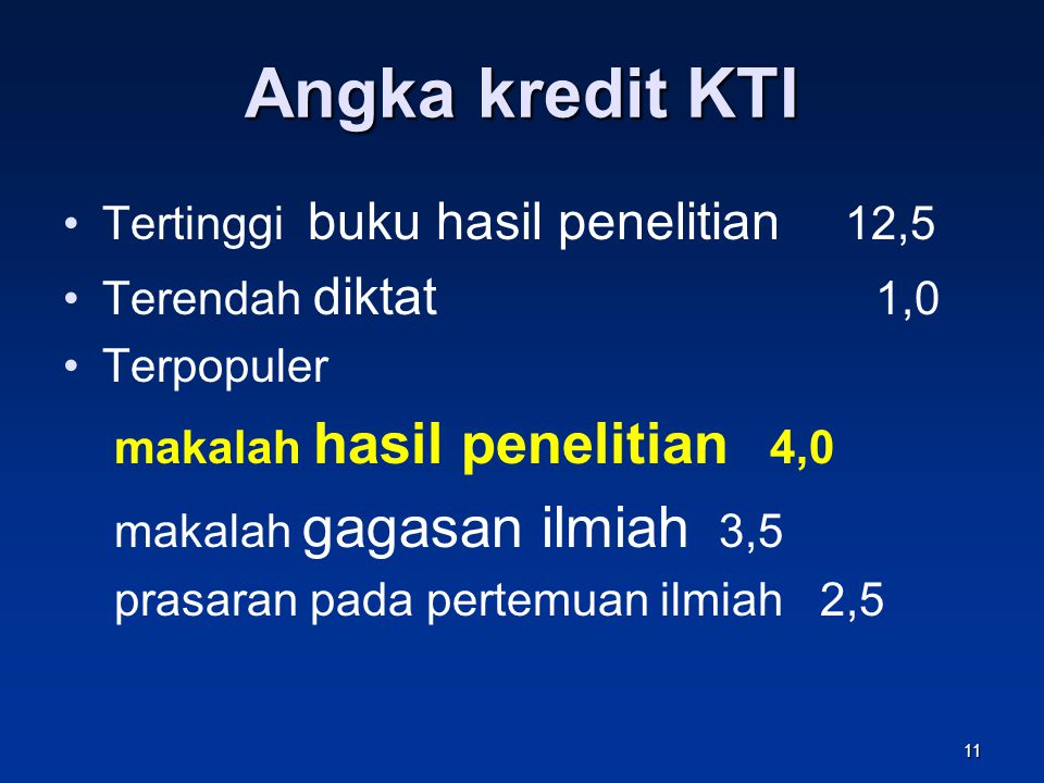 Angka kredit KTI Tertinggi buku hasil penelitian 12,5