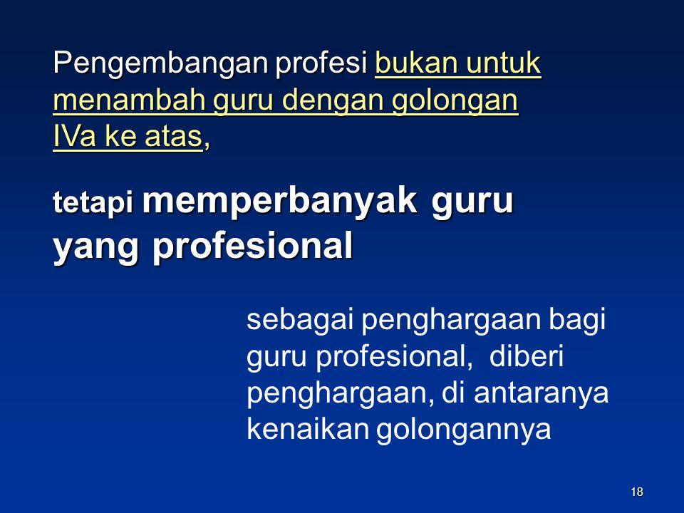 Pengembangan profesi bukan untuk menambah guru dengan golongan IVa ke atas,
