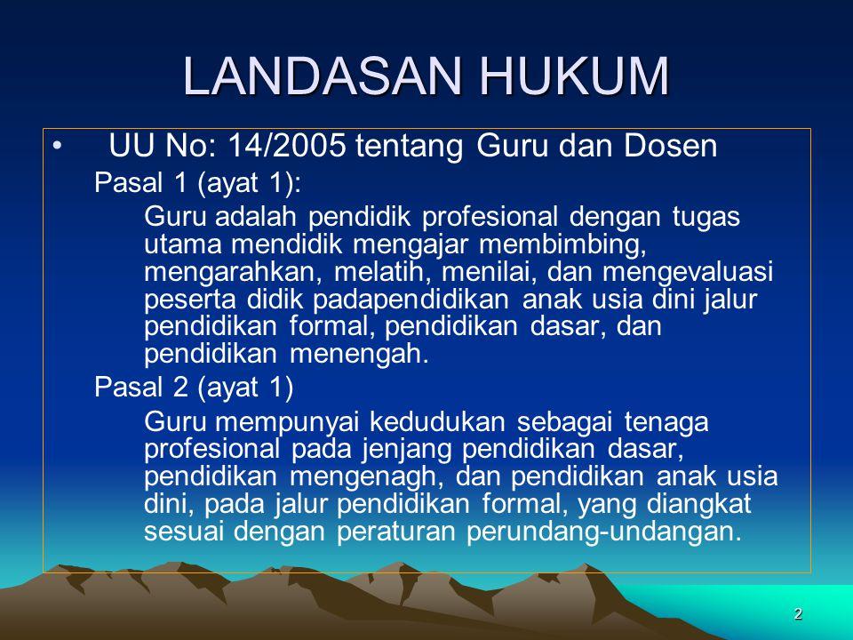 LANDASAN HUKUM UU No: 14/2005 tentang Guru dan Dosen Pasal 1 (ayat 1):