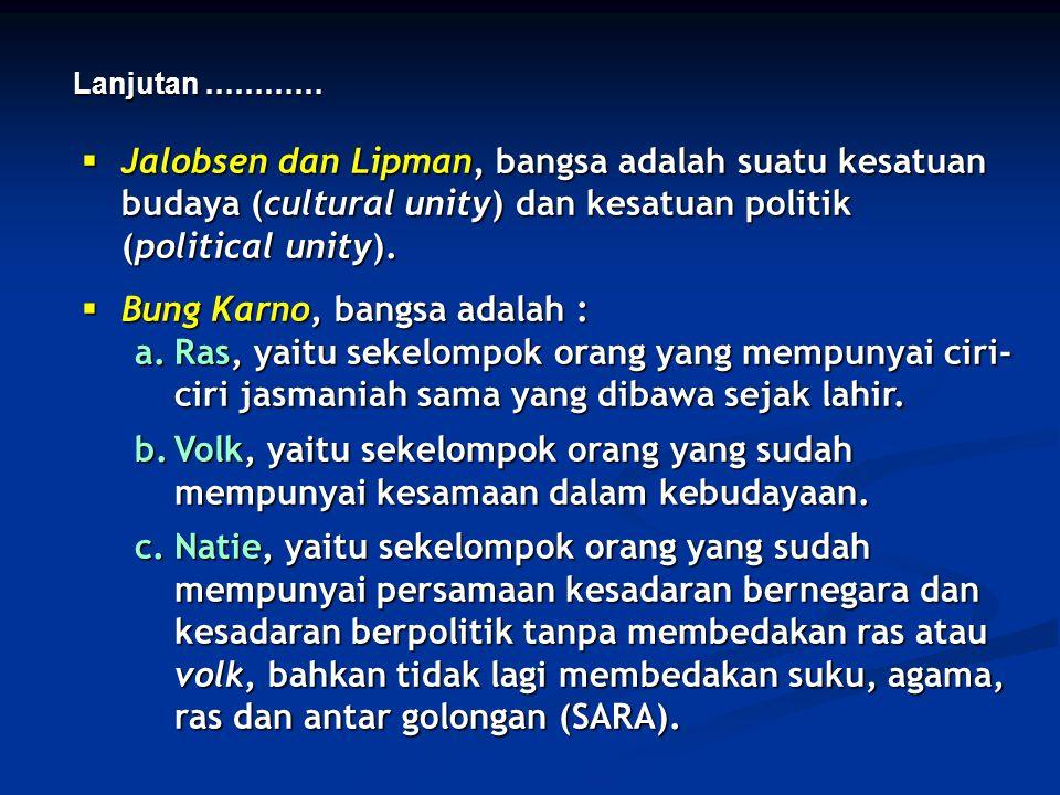 Bung Karno, bangsa adalah :