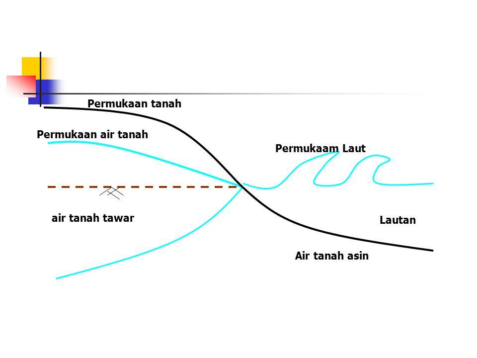 Permukaan tanah Permukaan air tanah Permukaam Laut air tanah tawar Lautan Air tanah asin