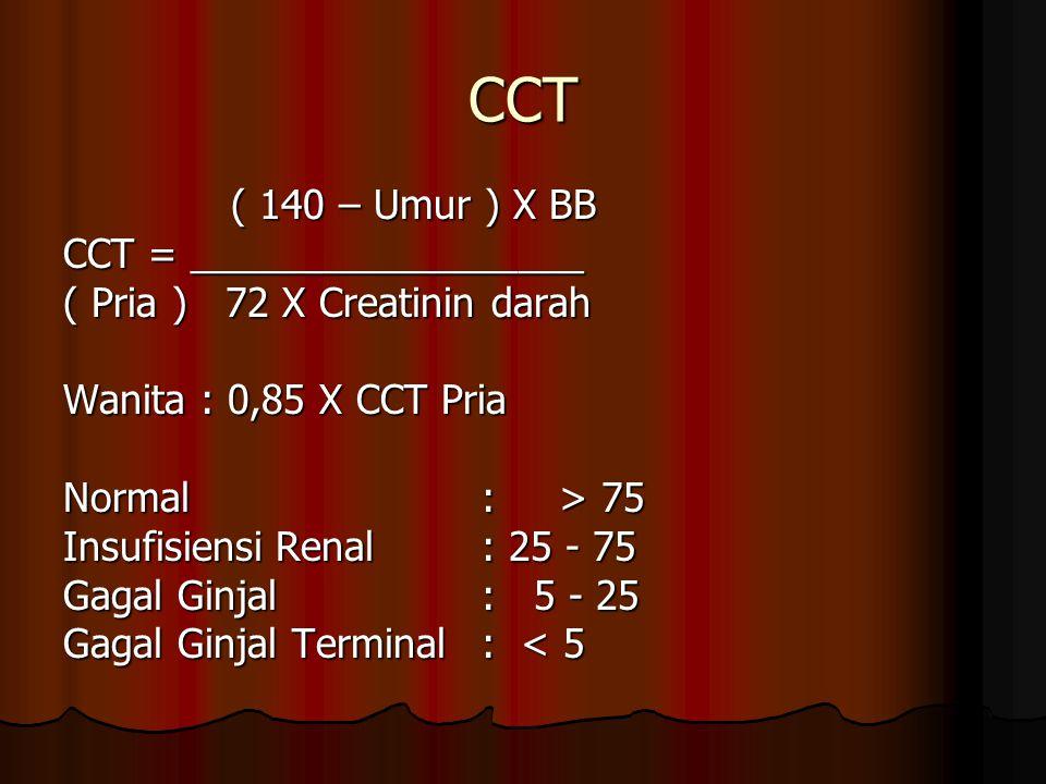 CCT ( 140 – Umur ) X BB CCT = __________________