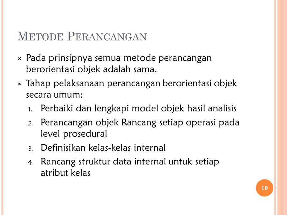 Metode Perancangan Pada prinsipnya semua metode perancangan berorientasi objek adalah sama.