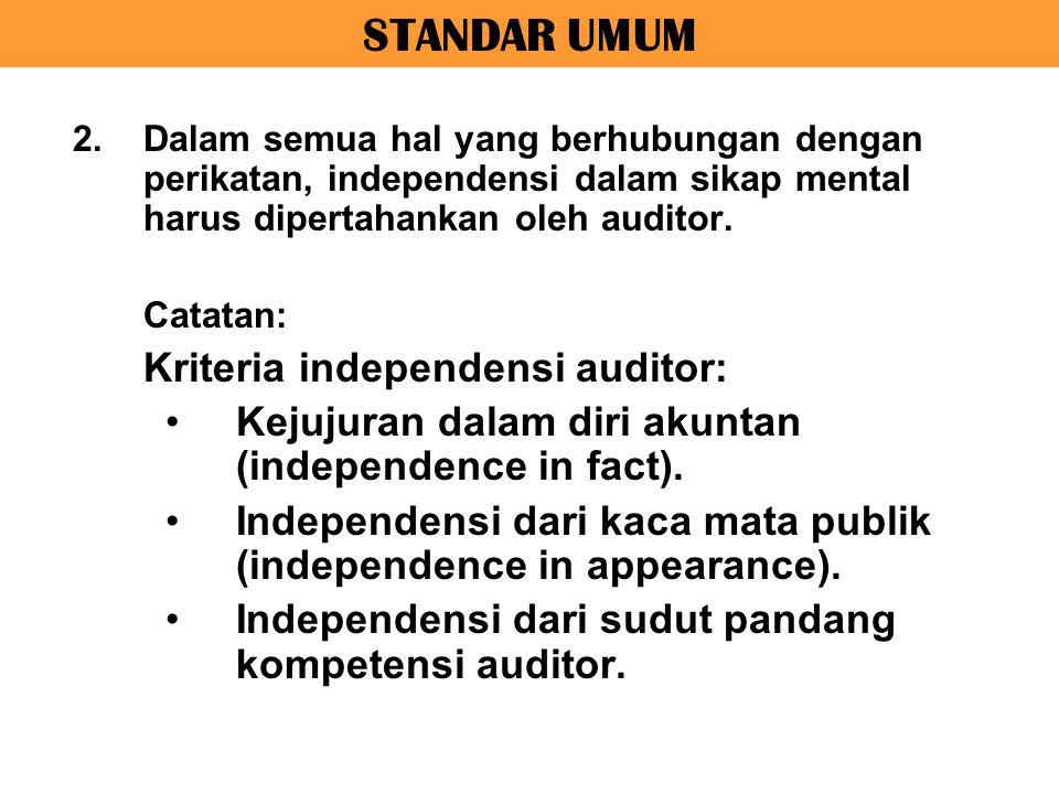 STANDAR UMUM Kejujuran dalam diri akuntan (independence in fact).