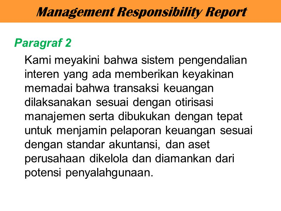 Management Responsibility Report