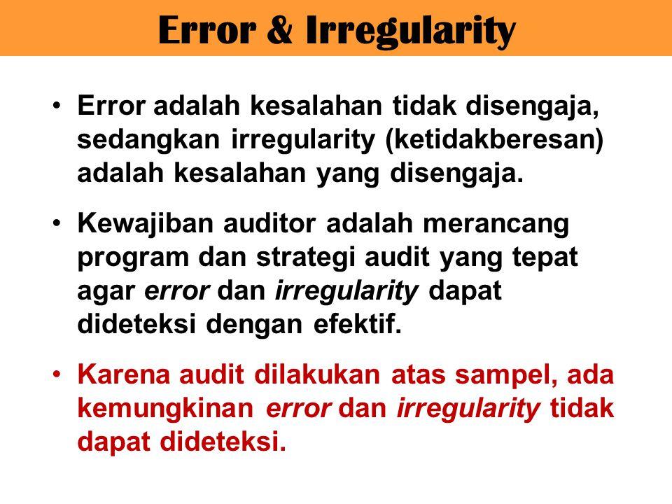 Error & Irregularity Error adalah kesalahan tidak disengaja, sedangkan irregularity (ketidakberesan) adalah kesalahan yang disengaja.