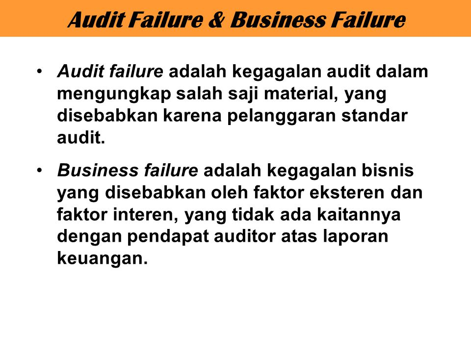 Audit Failure & Business Failure