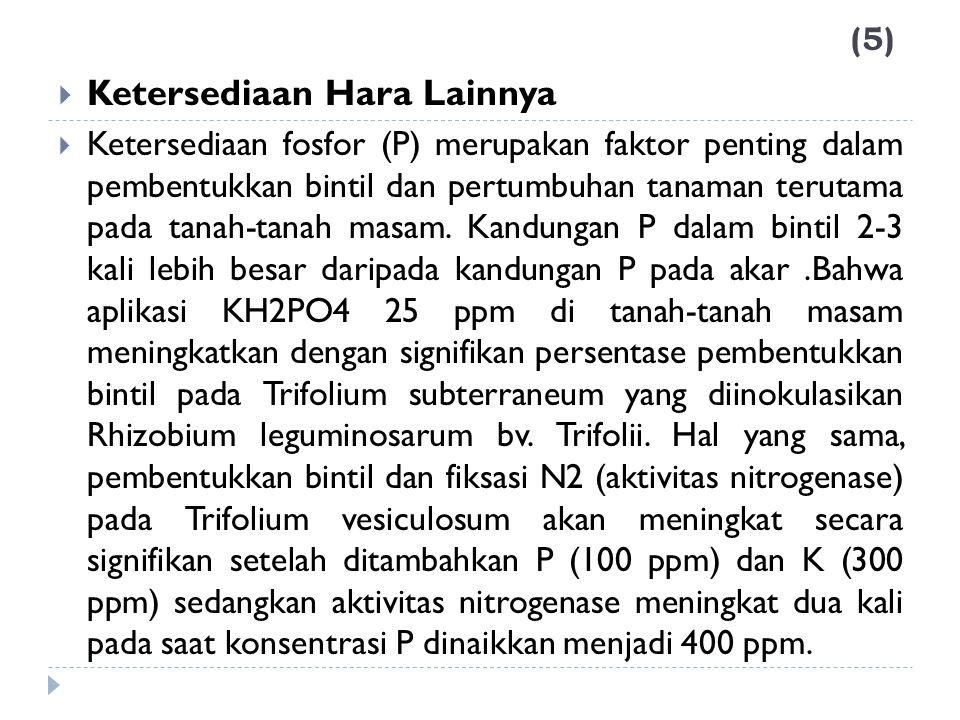 (5) Ketersediaan Hara Lainnya