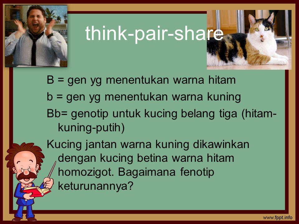 think-pair-share B = gen yg menentukan warna hitam