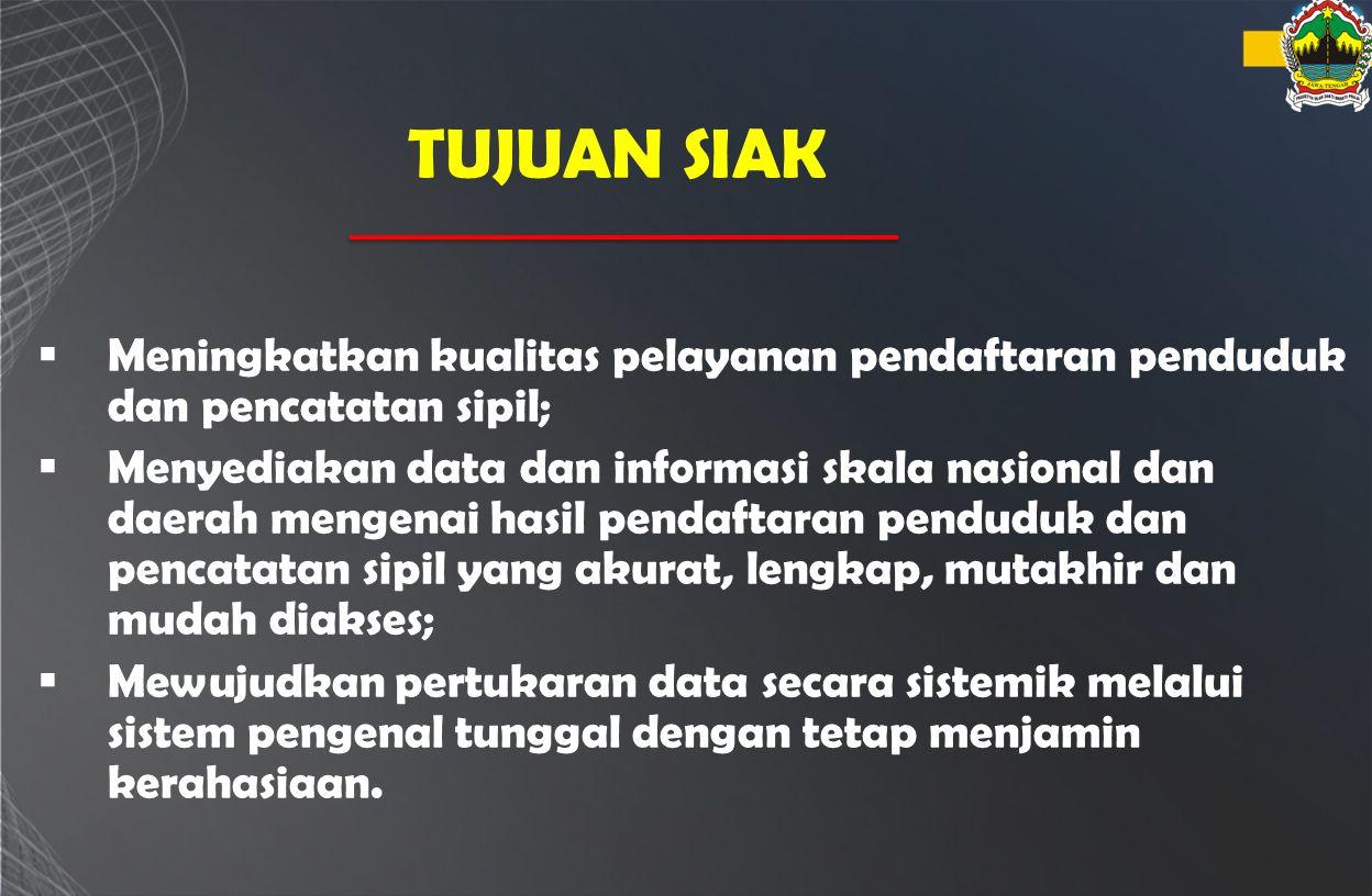 TUJUAN SIAK Meningkatkan kualitas pelayanan pendaftaran penduduk dan pencatatan sipil;