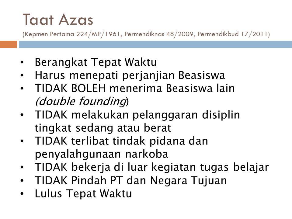 Taat Azas (Kepmen Pertama 224/MP/1961, Permendiknas 48/2009, Permendikbud 17/2011)